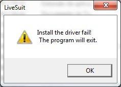 Instalação do driver falhou